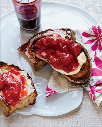 No-Cook Strawberry Jam Recipe on Food & Wine; this is easy and yummy. Place the jam in small jars to give as gifts.