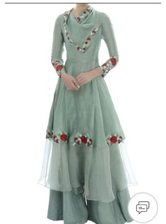 Buy Blue draped collar tunic with palazzo by Incheetape at Aza Fashions Kurti Designs Party Wear, Kurta Designs, Blouse Designs, Latest Kurti Designs, Pakistani Dress Design, Pakistani Dresses, Indian Dresses, Shalwar Kameez Pakistani, Eid Dresses