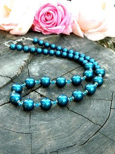 Womens Gift Idea Petrol Pearl Necklace Fashion Trend Jewelry