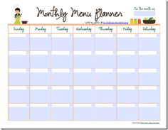 Monthly Meal Planner {also a pdf file that you can edit/save}. Can type in all of your meals for the month and save it to use again another month.