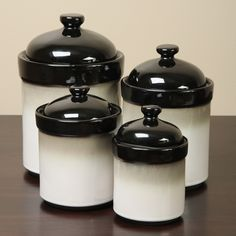 <li>Understated canister set adds a rustic touch to your kitchen counter<li>Nova Black 4-piece jar set from Sango provides sealed lids<li>Jars feature a unique mix of black and white glazes with a white base