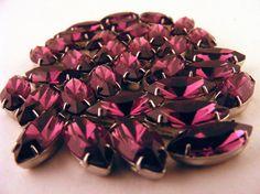 Purple Swarovski Rose Montee Sew On Rhinestones Navettes Lot of 33