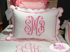 Monogrammed Shams Set of Two from Jane Wilner Designs Standard, King or Euros  at The Pink Monogram