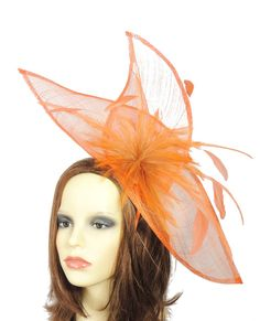 Viktoria Orange Fascinator Hat For Weddings By Hatsbycressida