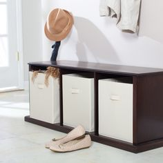 Attractive 3-cubby storage bench for any room. Mud room idea