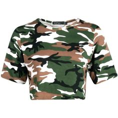 Petite Mira Camo Print Crop Top ($2.80) ❤ liked on Polyvore featuring tops, crop tops, shirts, camouflage shirt, green shirt, camoflauge crop top, camo top and camoflage shirt