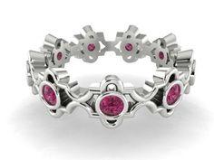Modern Pink Wedding band, Natural Pink Genuine Tourmaline stones bezel set ring, White Gold Wedding Eternity Band,  Elegant Ideal ring by BridalRings on Etsy https://www.etsy.com/listing/248983050/modern-pink-wedding-band-natural-pink