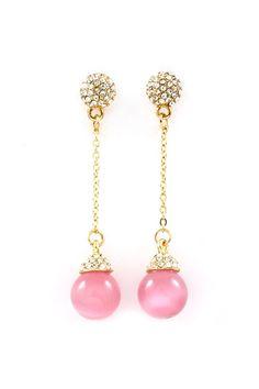pink drop earrings <3