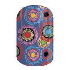 Mod Patch   Jamberry   Bold spirals in shades of blue, pink, yellow, and red over a lilac-colored background make 'Mod Patch' a standout choice!