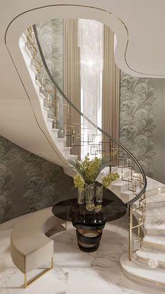 Interior Design Dubai, Modern Home Interior Design, Luxury Homes Interior, Modern House Design, Villa Design, Modern Stairs Design, Mansion Interior, Dream House Interior, Luxury Rooms