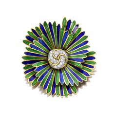 "An enamel and diamond ""pinwheel"" brooch, David Webb"