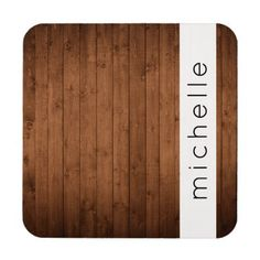 Your Name - Barn Wall Old Wooden Barks - Brown Beverage Coaster - barn wood gifts idea customize nature