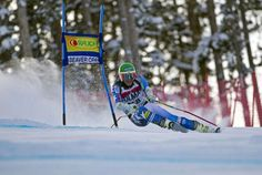 A skier turns at the gate during the Audi Birds of Prey World Cup in Beaver Creek, CO
