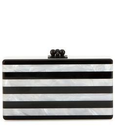 Schwarz-weiße Boxclutch By Edie Parker