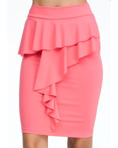 With ruffled front detail and always-sexy pencil silhouette, this bebe skirt is all about ladylike polish. Work it with a bustier and a black blazer for a quick after-dark look.