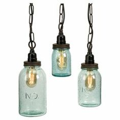 "Set of 3 mason jar-inspired pendants with vintage-style bulbs and an embossed text motif. Product: Small, medium and large pendantConstruction Material: Glass and ironColor: Tinted green Features: Comes with three separate cords, not one mounting unitPlug-inAccented with numbers Accommodates: (1) Vintage Edison bulb each - includedDimensions: Small: 5.25"" H x 3.25"" DiameterMedium: 7"" H x 3.75"" DiameterLarge: 8.75"" H x 4.5"" Diameter"