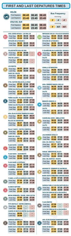 Granada City Bus Timetables, Departure Times and Frequency