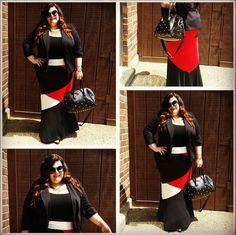 Here's an amazingly stylish and sophisticated outfit that will show off your curves perfectly! Leslie paired classic black top and blazer with our Plus Size Color Block Maxi Skirt for a chic pop of color. So modern and city chic!