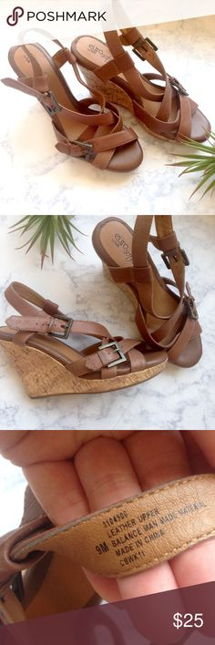 Leather wedge shoes sandals brown Boho cork sz 9 Genuine leather upper. Size 9. EXCELLENT CONDITION! Super soft sole. Looks like it hasn't hardly been worn. Sofft Shoes Wedges