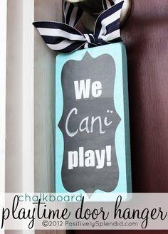 Chalkboard Door Hanger --- WE NEED THIS!
