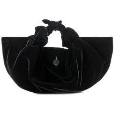 The Row The Ascot Small Velvet Handbag (£835) ❤ liked on Polyvore featuring bags, handbags, black, handbags bags, velvet purse, hand bags, the row bag and velvet bag