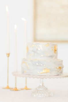 wedding cake with gold foil