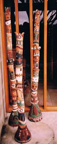 Ceramic totem poles. Oxides on terracotta. Sonja Jorgensen. Not the best photo but oh well :-)