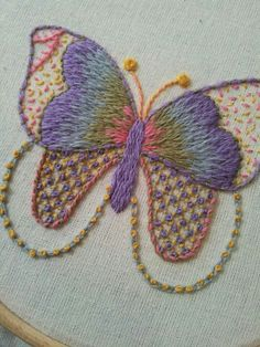 Butterfly in crewel wools