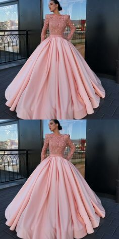 A-Line Bateau Long Sleeves Pink Satin Prom Dress with Appliques Lace