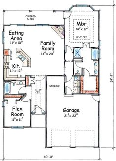 Ranch Plan: 1,423 Square Feet, 2 Bedrooms, 2 Bathrooms - 402-01388 Two Bedroom Floor Plan, 2 Bedroom House Plans, Beach House Plans, Cottage House Plans, Craftsman House Plans, Modern House Plans, Small House Plans, House Floor Plans, Backyard Cottage
