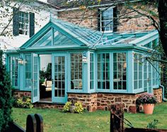 Teal green house room