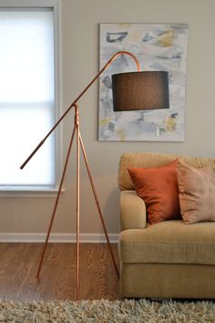 Copper Pipe Tube Tripod Industrial Minimalist Floor Lamp with Hanging Shade