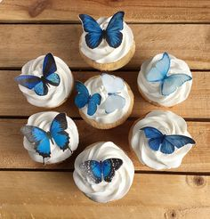 Blue Butterfly Butterflies Edible Paper Cupcake Toppers comida Shades of Blue Butterfly Cake and Cupcake toppers, 30 Butterflies Decorations, Paper & inks,Read Item Details Diy Quinceanera Decorations, Quince Decorations, Quinceanera Themes, Butterfly Decorations, Butterfly Birthday Party, Blue Birthday, Butterfly Cupcakes, Blue Butterfly, 15th Birthday Cakes
