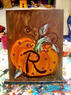 Pumpkin painting I would like to paint this. I love pumpkins and fall decorations =)