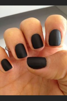 Black matte nails, i love this but all matte finishing polishes don't work well for me so I found that steam works the best! Put a cup of water in the microwave for about 2 minutes and then hold your freshly painted nails over the cup, instant matte nails.