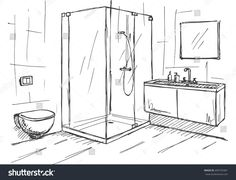 Find Hand Drawn Sketch Linear Sketch Interior stock images in HD and millions of other royalty-free stock photos, illustrations and vectors in the Shutterstock collection. Thousands of new, high-quality pictures added every day. Drawing Interior, Interior Design Sketches, Modern Interior Design, Interior Design Living Room, Contemporary Interior, Room Sketch, Bathroom Drawing, Planer Layout, Designs To Draw