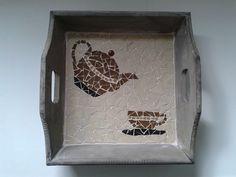 Mosaic teapot & cup tray