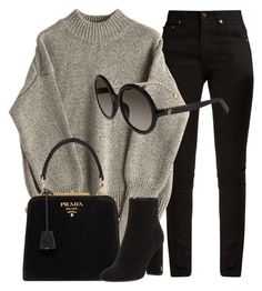 """Minimal"" by smartbuyglasses-uk ❤ liked on Polyvore featuring Yves Saint Laurent, Prada, Carolina Herrera and black"