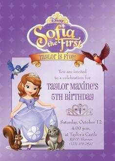 Sofia the First Birthday Party Invitation