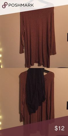 Striped tunic Worn once, tan/black striped tunic, cute with black scarf & boots! Old Navy Tops Tunics