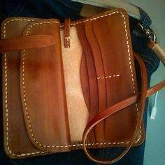 Handmade-Genuine-Leather-Bifold-Biker-Mens-Wallet-w-Chain-brown
