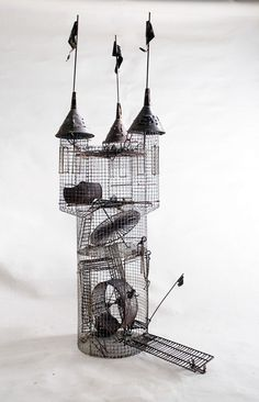 Hobart Ray Brown, (American, 1934 Kinetic sculpture, Hamster cage in the form of castle. Awesome cool, just needs to be larger for more space for the poor creatures! Dog Houses, Bird Houses, Claude Monet, Vincent Van Gogh, Hamsters As Pets, Rodents, Cool Hamster Cages, Hamster House, Kinetic Art