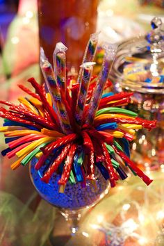 use colorful twizzlers as monster hair Sweet 16 Centerpieces, Sweet 16 Decorations, Birthday Decorations, Quince Decorations, Table Centerpieces, Wedding Centerpieces, Candy Bouquet Diy, Candy Arrangements, Backyard Birthday