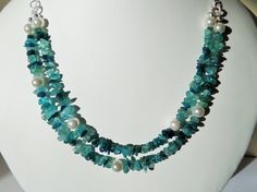 Gemstone necklace with apatite gemstones by CoastalMoonJewellery