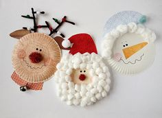 Paper Plate Christmas Characters: Santa, Rudolph, Snowman by @amandaformaro for Kix Cereal