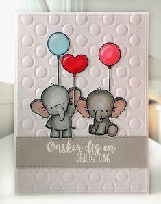 "Card critters elephant balloon balloons MFT Adorable elephants Die-namics #mftstamps peek a booh cover up background die used for embossing, sentiment stamp Gitte's Eget Design Clearstamp Set - Brush Script / Glade Hilsener 50-56922 Hobbyboden ""Ønsker dig en dejlig dag"" - JKE"
