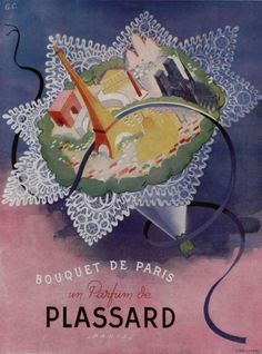 """Bouquet de Paris"", Parfum de Plassard. 1946 Illustration by G.C."