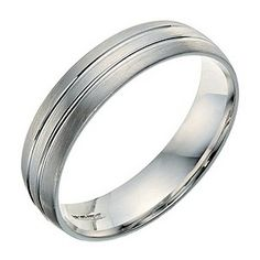 Men's 9ct white gold 5mm double groove wedding ring - Product number 9249958