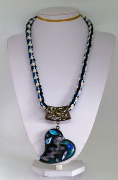 8 Warp Sky Blue and Black Rattail Satin Cord, Royal Blue and Black Fancy Ribbon, Cream Lace Ribbon Square Kumihimo Braid Necklace with Copper and Blue Enameled Gem Heart Pendant