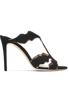 Jimmy Choo - Lanta Metallic Leather-trimmed Suede Mules - Black - IT35